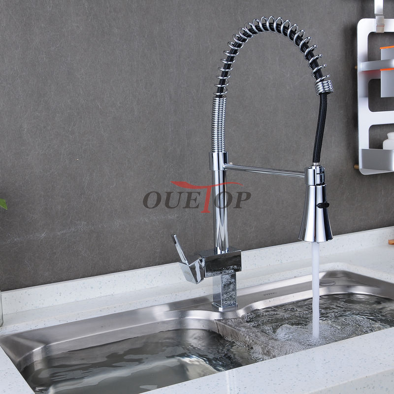 Pull Down Sprayer Chrome Brass Water Kitchen Faucet Swivel Vessel Sink Mixer Tap cozinha kitchen sink faucet Free Shipping  Prod good quality wholesale and retail chrome finished pull out spring kitchen faucet swivel spout vessel sink mixer tap lk 9907