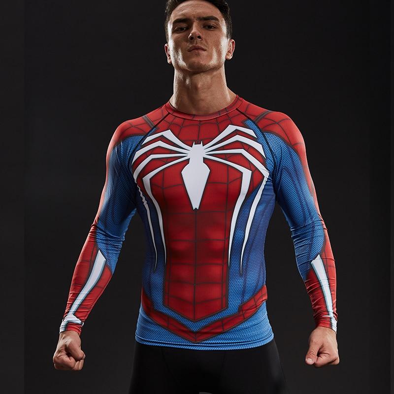 Raglan Sleeve Spiderman 3D Printed T shirts Men Compression Shirts 2017 NEW Crossfit Tops For Male Fitness BodyBuilding Clothing camisa compressão homem aranha