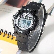 400d97eeb084 Nueva llegada OHSEN niños reloj Digital LED Shock reloj correa de caucho  negro de moda Niño