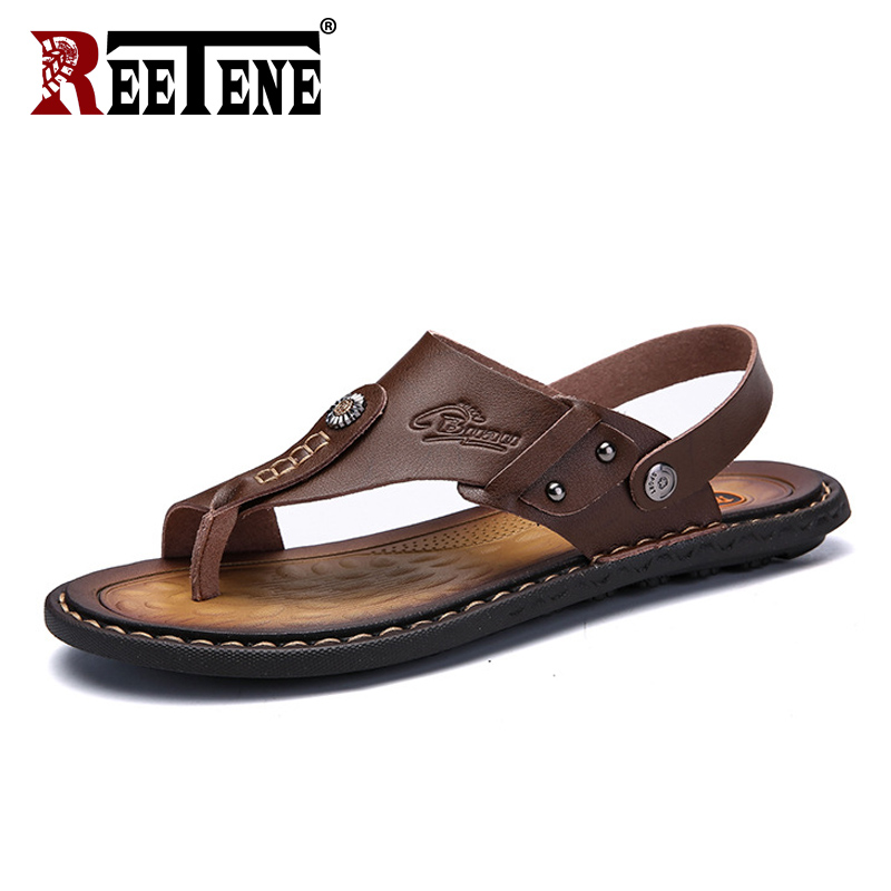 REETENE Men's Sandals Slippers Footwear Flip-Flops Summer Shoes Comfortable Genuine-Leather