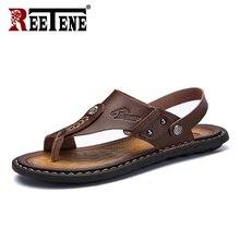Reetene venda quente masculino sandálias de couro genuíno masculino verão sapatos lazer chinelos flip flops masculino confortável calçado sandália macia