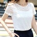 Blanco top de encaje de gasa de manga corta de verano de las mujeres tops 2017 nueva moda de corea ahueca hacia fuera camisa de las señoras de oficina femenina clothing