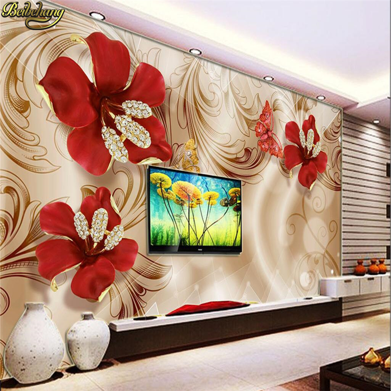 Large 3d European Pearl And Rose Jewelry Tv Background: Beibehang Custom Photo Wallpaper Large Mural 3d European