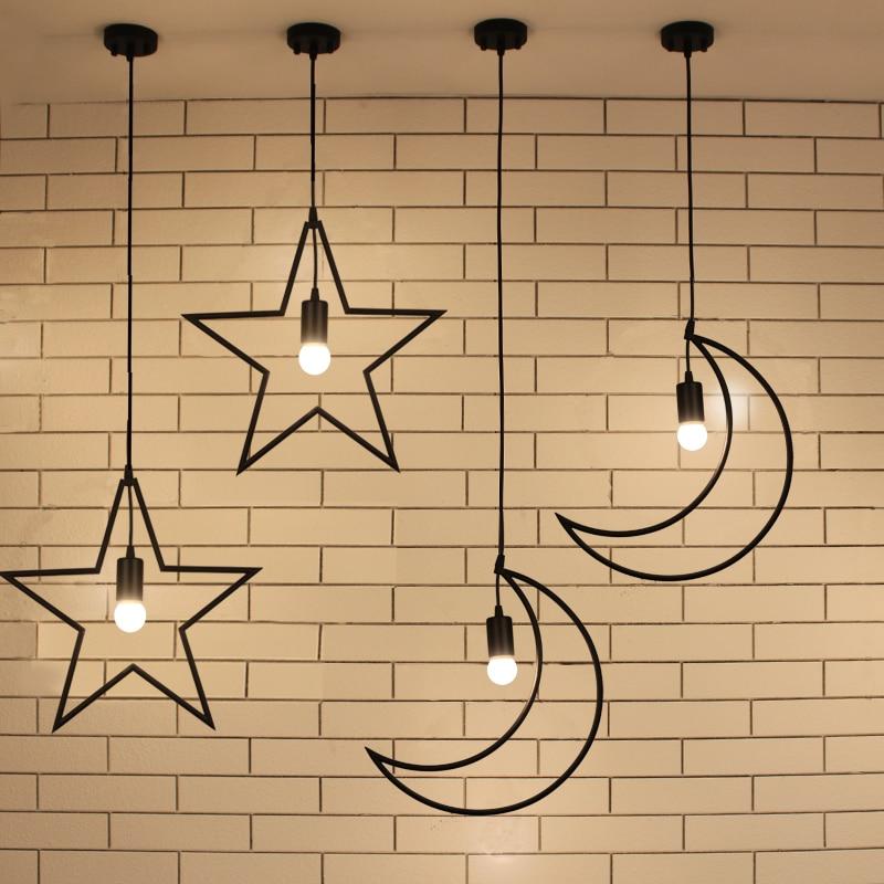 ФОТО Loft Antique Industrial Moon Star Wrought Iron Metal E27 Led Pendant Lights Lamp Cafe Balcony Hall Bar Children's Room Droplight
