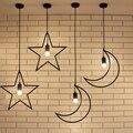 Loft industrial antigo moon star e27 led luzes pingente lâmpada de ferro forjado do metal café varanda bar salão de quarto das crianças droplight