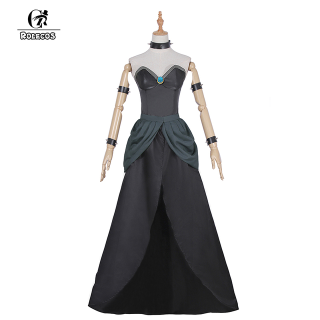 ROLECOS Game Super Mario Cosplay Costumes Bowsette Costume Black Collar Evening Dress for Women Cosplay Costumes Dress