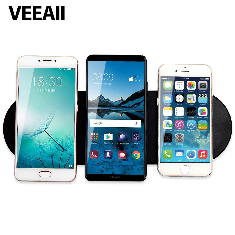 VEEAII Wireless-Charger Fast-Charging IPhonex Qi 1 9V1A 3-Coils 8-Sharing-Technology