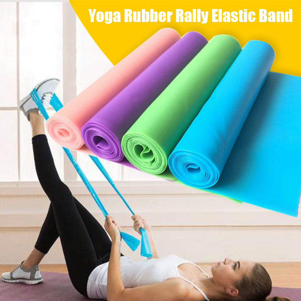 1.5m Yoga Pilates Stretch Resistance Band Exercise Fitness Band Training Elastic Exercise Rubber Sport Workout Stretch Belts