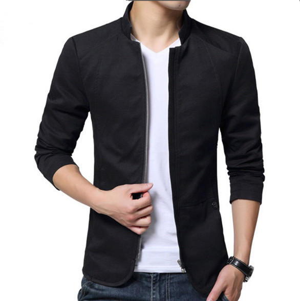 Chinese Style Mandarin Collar Casual Blazer Men Zipper Jackets Coats Mens Cotton Stand Collar Blazer Hombre Plus Size 5XL 4XL