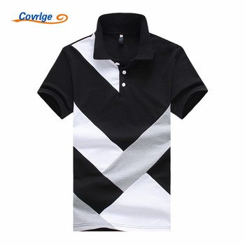 Covrlge 2019 Summer New Men's Polo Shirt Fashion Casual Cotton High Quality Short Sleeve Polo Shirt Black White Tops Male MTP060