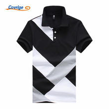 Covrlge 2019 Summer New Mens PoloShirt Fashion Casual Cotton High Quality Short Sleeve PoloShirts Black White Tops Male MTP060