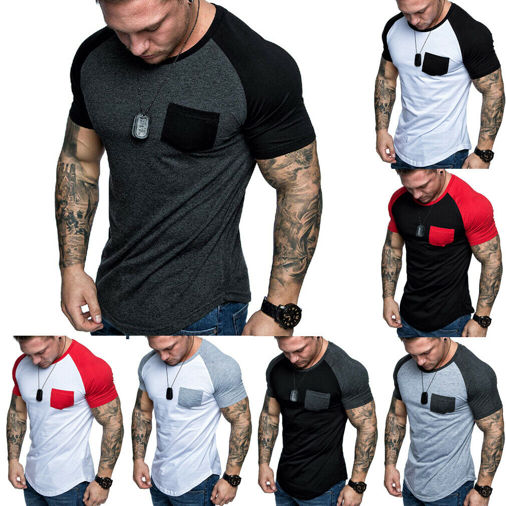Hirigin Jogger Casual   T     shirt   Men's Short Sleeve Slim Fit Gym Elastic   Shirt   Summer Casual Muscle Tee Tops   T     Shirts