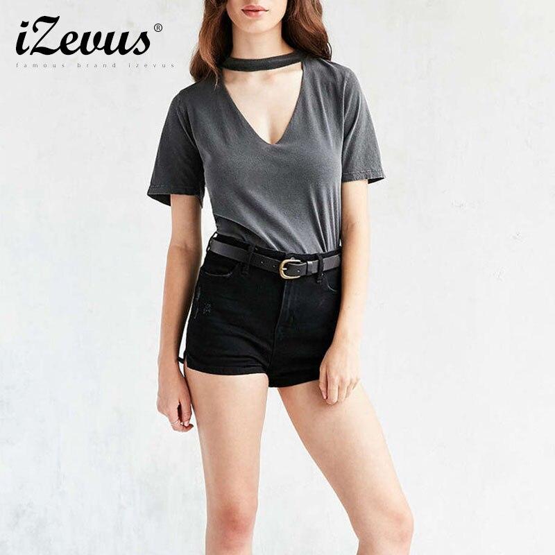 Moda Mujeres Casual Tees camiseta Del Verano Tops Ladies Gris Sexy V-cuello Cort