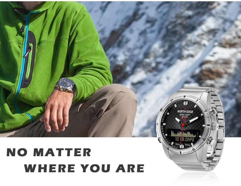 NORTH EDGE Men Sport Watch Altimeter Barometer Compass Thermometer Pedometer Calorie Depth Gauge Digital Watch Running Climbing 10