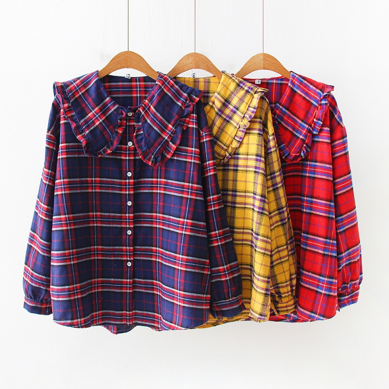Sweet Women Plaid Print Shirt Fitness Long Sleeve Blouse Casual Lapel Tops Women Retro Temperament Tops