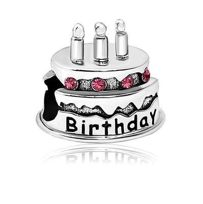 Strange Free Shipping 1Pc European Pink Happy Birthday Cake Bead Charm Fit Birthday Cards Printable Opercafe Filternl