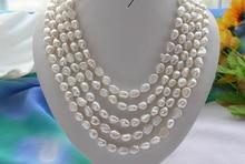 Женщины Ювелирные Изделия 100 inch/256 см Ожерелье 10 мм Белый Барокко жемчужное ожерелье горный хрусталь шпилька серьги Натуральный жемчуг Пресноводных