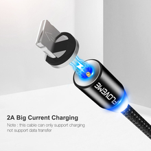 LED Magnetic Cable For Lightning,Micro USB Type C Phone Cable For iPhone 7 6 1m 2A Fast Charge Round Magnet Charger Cabo