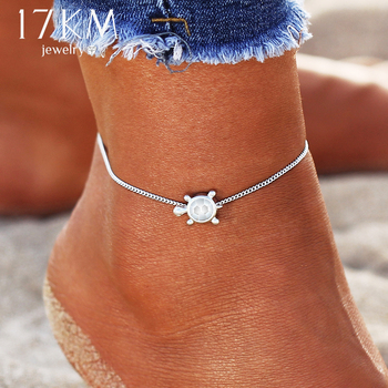 IF ME Vintage Multiple Layers Charms Anklets For Women Silver Color Sun Shape Beads Summer Female Foot Chain Jewelry Party Gifts 3