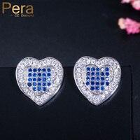 Pera New Trendy Sterling Silver 925 Jewelry Fashion Women Big Heart Shape Blue Cubic Zirconia Ear Stud Earrings for Women E081