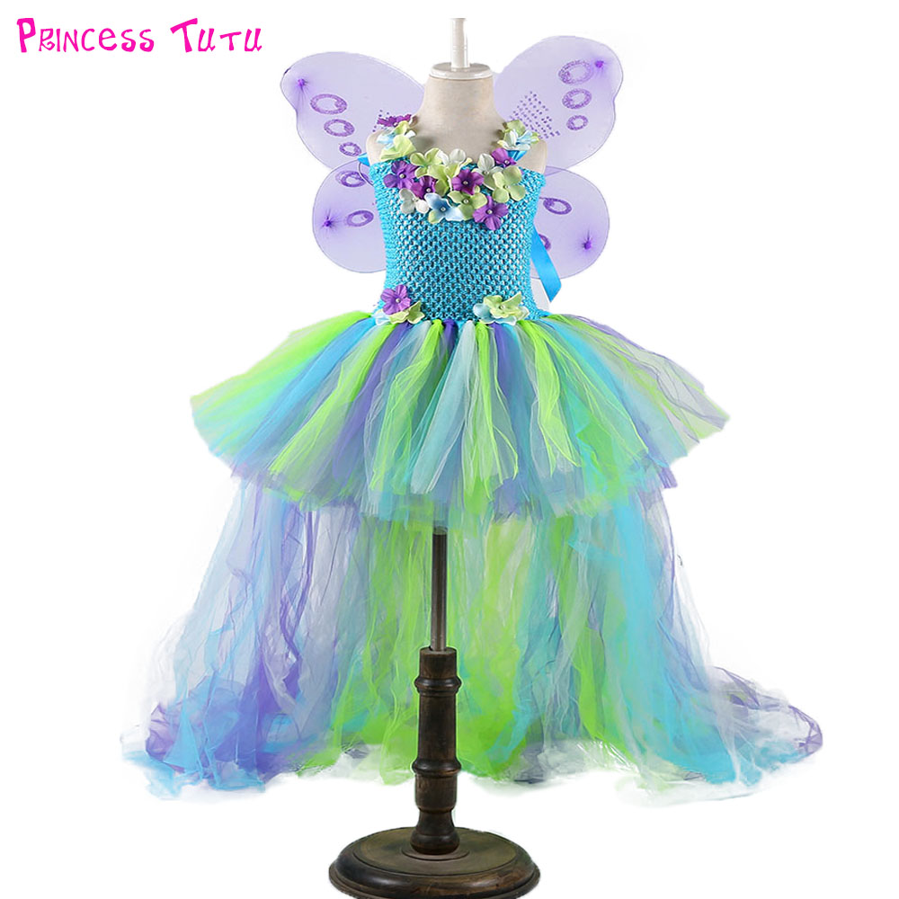 Fairy Girl Flower Tutu Dress with Wings Woodland Baby Kids Wedding Birthday Party Dresses With Train Fairy Festival Costume tinker bell fairy kids girl halloween party costume dress wings set 2 8year c247
