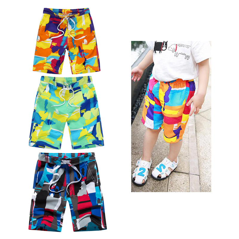 9 Color Patchwork Kids Beach Board Shorts Boys Summer Surf Shorts Knee-length Short Pants 7-8-9-10-11-12 Years Children Clothing