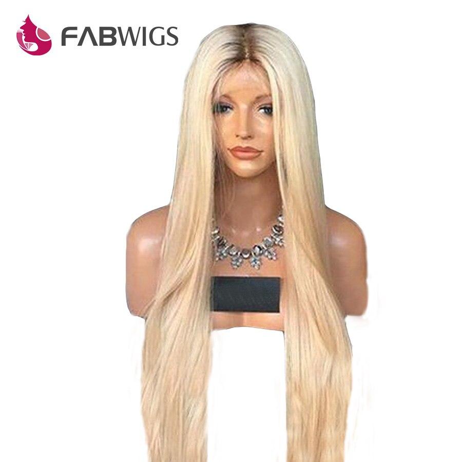 Fabwigs 180% Densité T4/613 Blonde Full Lace Perruques de Cheveux Humains avec Bébé Cheveux Brésiliens Remy de Cheveux Humains Perruques foncé Racines