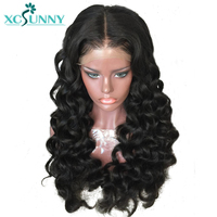 xcsunny Human Full Lace Hair Wigs With Baby Hair Pre Plucked Brazilian Remy Hair Wavy Glueless Full Lace Wig Bleached Knots