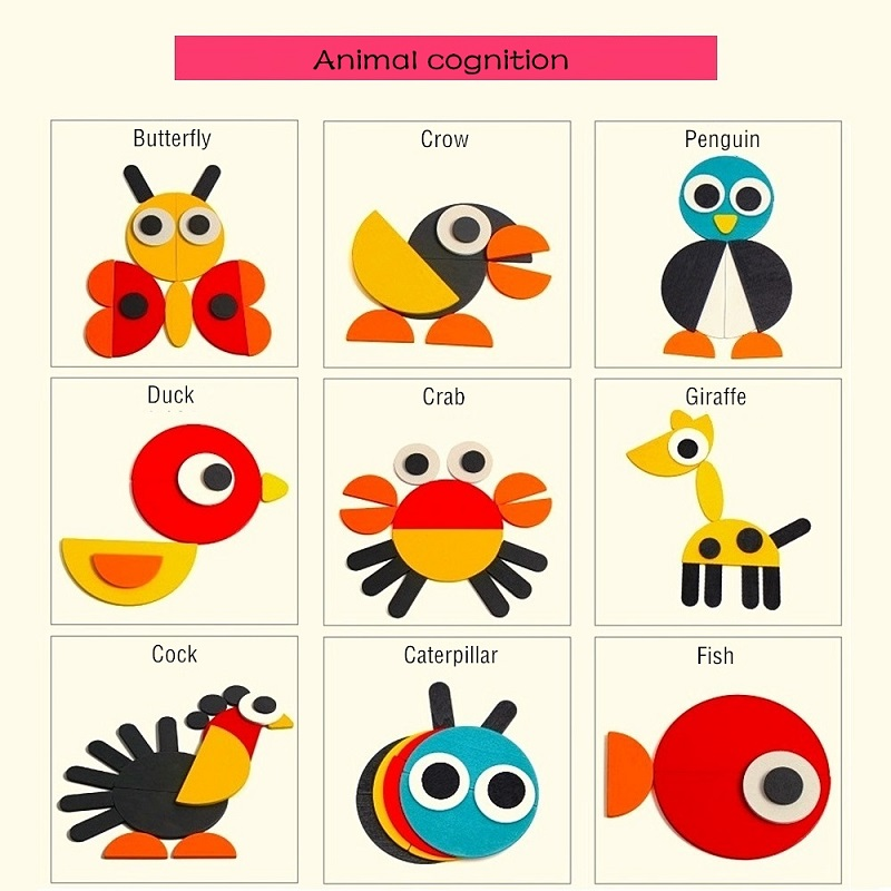 Wood Jigsaw Puzzle Cartoon Animals Tangram Educational Toy Geometric Shape Clever Board For Kids 3 Year Old Drop Shipping In Puzzles From Toys