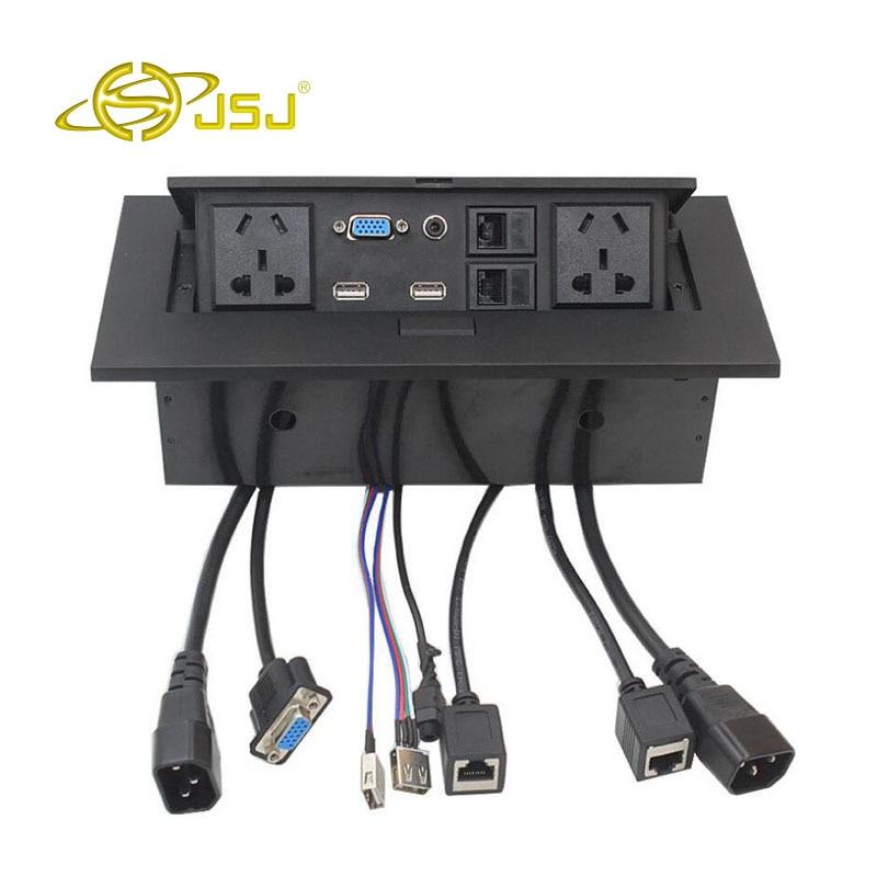 JSJ Multi-fonction prise de bureau pop-up errant VGA + 3.5 audio dual-port USB bureau table ligne boîte