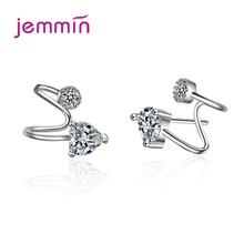 Women Trendy 925 Sterling Silver Cubic Zircon Ear Clip Cuff Earrings On Earring Jewelry Brinco Without Piercing Wholesale