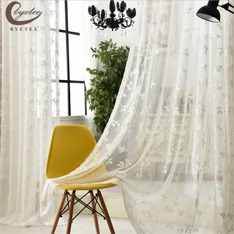 byetee Simple white embroidered gauze cloth embroidered Voile Curtains bedroom study the living room tulle