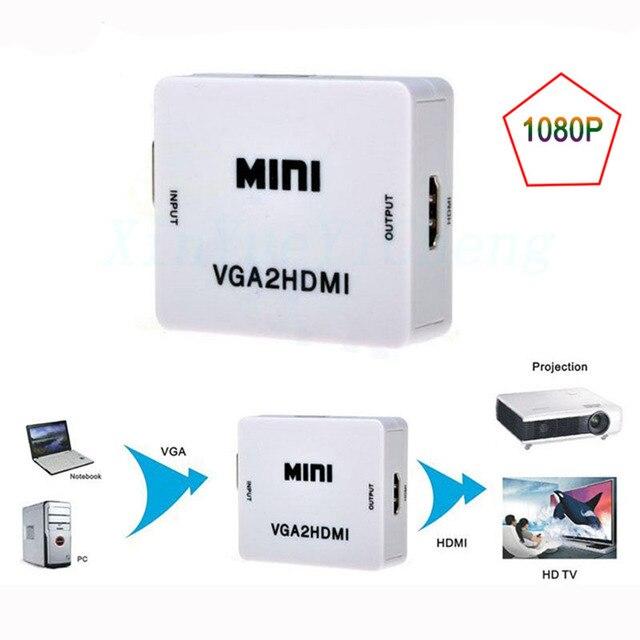 Оптовая МИНИ 1080 P VGA2HDMI VGA к HDMI Адаптер Конвертер Разъем С Аудио для Портативных ПК к HDTV Projectorr
