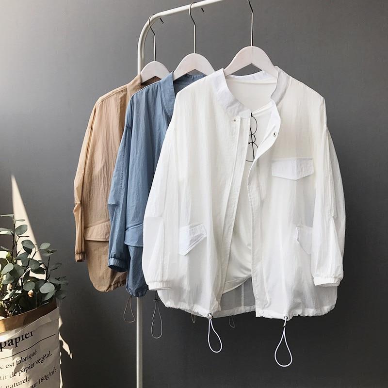 Summer Autumn 2019 Fashion Women Jacket Coat Thin Zipper Bomber Jackets Sunscreen Long Sleeve Casual Loose Plus Size Outerwear
