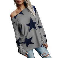 Cute Women Blouse Shirt Winter Full Sleeve Clothes Print Stars Loose Casual Basic 2XL Large Size