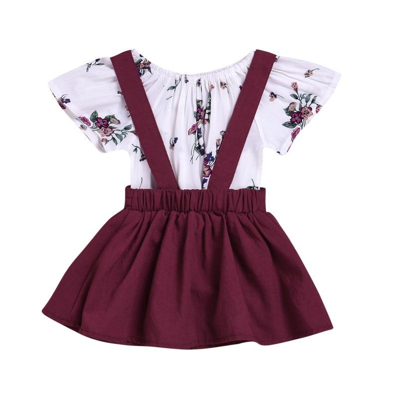 Baby Girls 2 Piece Set Fashion Floral Short Sleeves Romper Tops+Suspender Braces Dress 2018 New