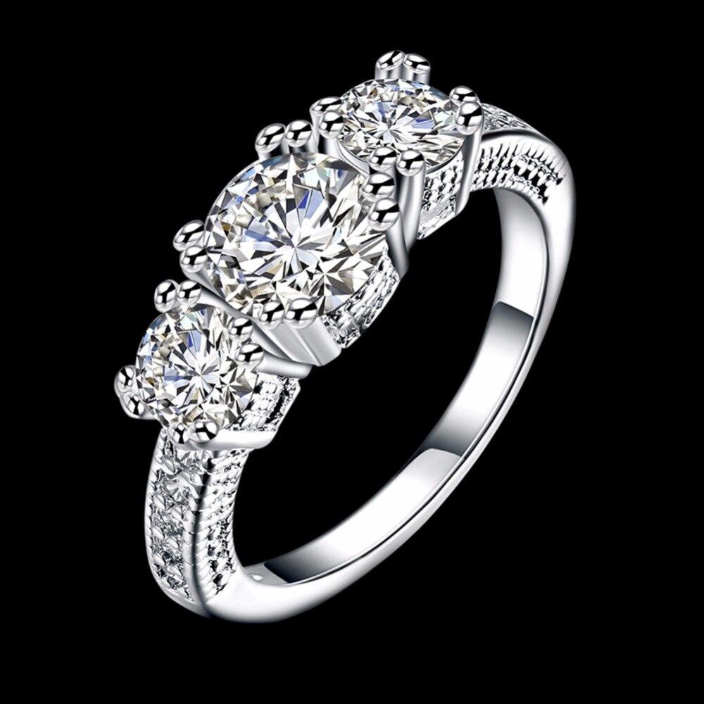925 чистый с серебряным покрытием 3 шт. 0.25ct Циркон Свадебные Кольца для невест высокое качество три жизни обещание клятва палец женщина кольц...