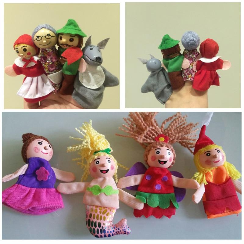 Cartoon Little Red Riding Hood Audinys Gyvūnų rankų lėlių mermaid pirštų lėlių Medinė galva mokymosi pagalbos lėlės audinio žaisti žaidimą