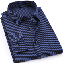 Striped Mens Shirts Casual Business Long Sleeved Chemise Dress Shirt