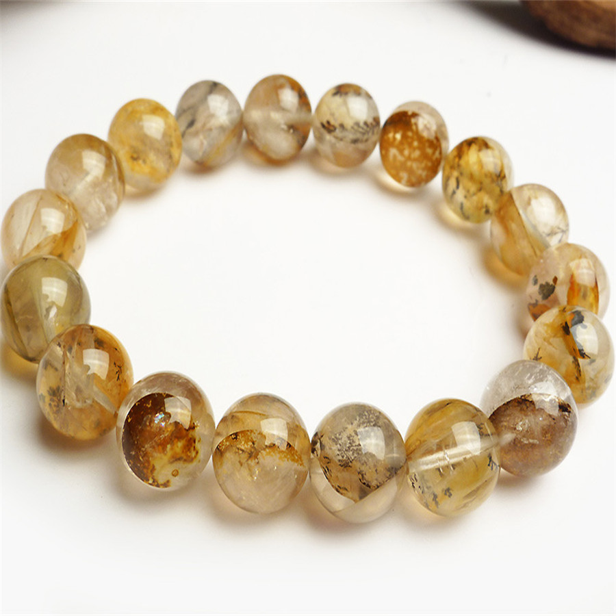 11mm Genuine Natural Petrified Wood Tree Crystal Quartz Transparent Round Bead Stretch Charm Bracelet Drop Shipping 7 5mm genuine natural purple transparent kunzite round crystal beads jewelry stretch charm bracelet femme drop shipping