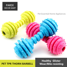 TPR eco-friendly pet toy rubber thorn barbell shape pet toy molar toy bite resistance pet training essential 1pc/lot