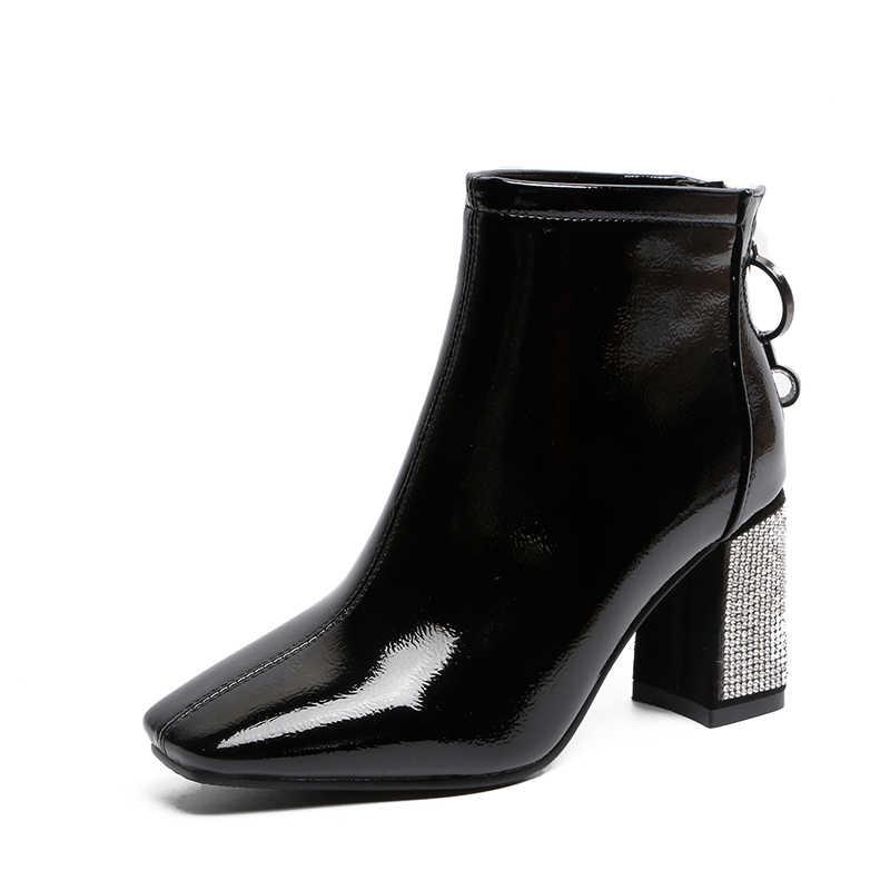 Tangnest/новые зимние женские ботильоны; Повседневная однотонная женская обувь на платформе с квадратным носком и молнией; Размеры 35-39; XWX7283