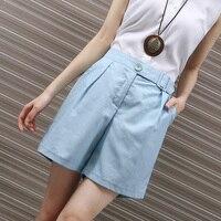 Mori Girl Summer High Waist Linen Shorts For Women Casual Candy Color Palazzo Shorts Pocket OL