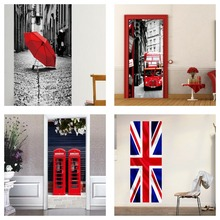Engeland Vlag Londen Rode Dubbeldekker De Telefooncel Paraplu Verwijderbare Muur Deur Sticker Decal Vinyl Thuis Kamer Art