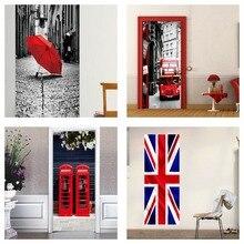 Ingiltere Bayrağı Londra Kırmızı Çift Katlı Otobüs Telefon Booth Şemsiye Çıkarılabilir Duvar Kapı Sticker Çıkartması Vinil Ev Odası Sanat