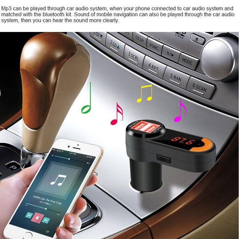 US $21 18 |Bluetooth Car FM Transmitter Modulator Kit BT Handsfree Dial  Call for Iphone Android Smartphone Car Dual USB Charger Adapter 12v-in FM