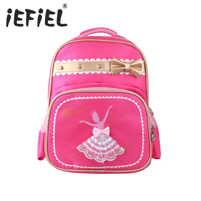 Fashion Kids Children Girls Dance Bag Students School Backpack Dancing Girl Printed Cute Bowknot Shoulder Bag for Ballet Class