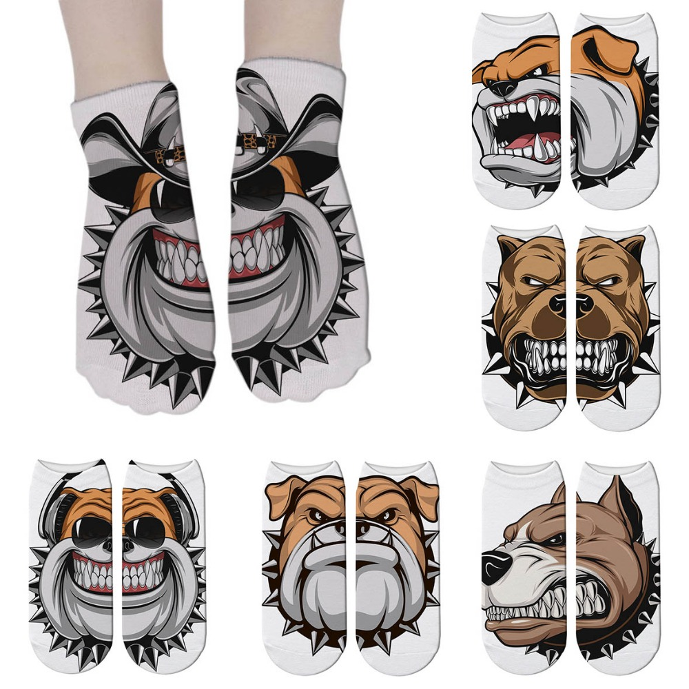 French Bulldog 3D Printed Cartoon Animal Sock Cute Funny Personalized Novelty Women Socks Comfortable Cotton Short Sock 5Z-ZAS17