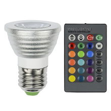 16 colors RGB LED Spotlight AC90-260V 3W RGB LED bulb Lamp + 24key IR Remote Control