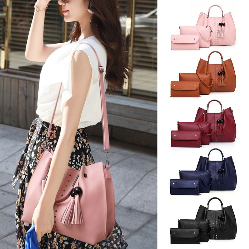 3Pcs Women Rivet PU Leather Shoulder Bag Tassel Handbag Tote Satchel Hobo Purse Set